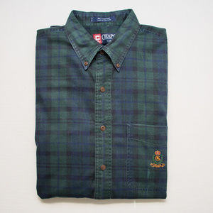 Vintage Chaps Ralph Lauren Green Blue Plaid Shirt
